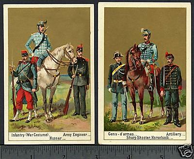 French Soldier Rifle Horse Sword Babbitt's Soap 2 Cards