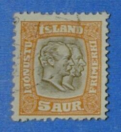 1907 ICELAND 5A OFFICIAL STAMP SCOTT#O33 MICHEL#26 USED