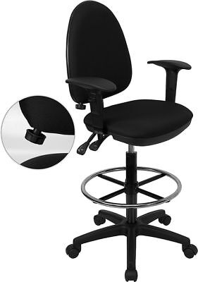 Black Fabric Multi-Function Drafting Stool With Arms