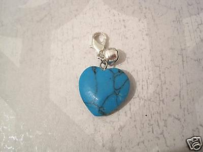 TURQUOISE LOVE HEART Cat Small Dog Pet Collar Charm Bell Clip On Gemstone