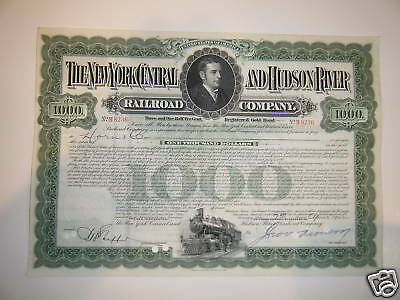 New York Central and Hudson River $1,000 Gold Bond '40s