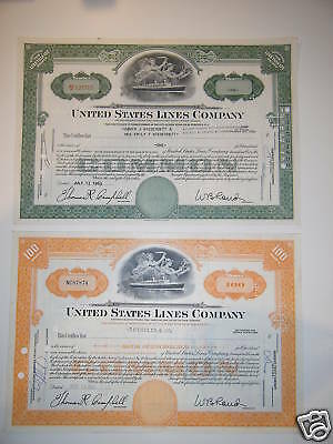 United States Lines Company PAIR, Orange & Green 1960s, S. S. United States