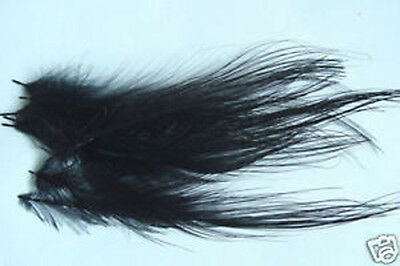 12 x plumes  SPEY HACKLE montage NOIR mouche streamer fly tying salmon saumon