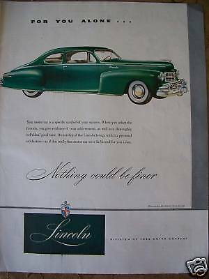 1947 Green Ford  Lincoln Car COLOR Ad