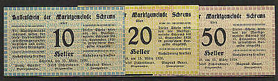 1920 AUSTRIA Notgeld SCHREMS Set of 3 UNC REVERSE Stamps