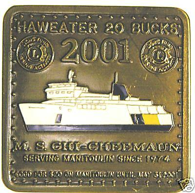 Manitoulin Island ON $20 Trade token enameled ferry