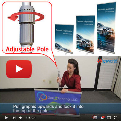 "Retractable roll up banner stands 33"" Height Adjustable Trade Show Display"