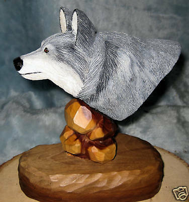 Grey wolf bust  Hand Carved