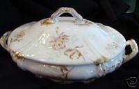 1800s antique THEO HAVILAND LIMOGES COVER VEGETABLE LILY BOWL serving china
