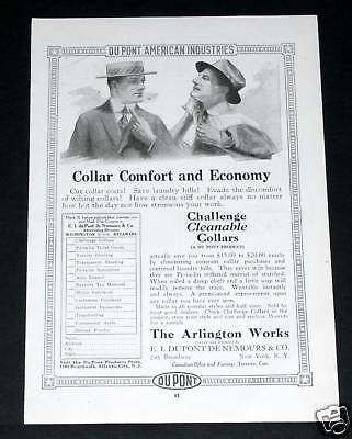 1918 Old Wwi Magazine Print Ad, Arlington Dupont Challenge Cleanable Collars!