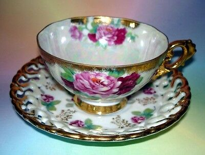 Rose Pattern Reticulated Luster Shafford Cup & Saucer