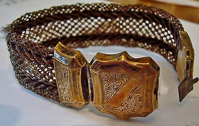 Victorian Mourning Hair Jewelry FANCY BRACELET shield hand crafted art antique
