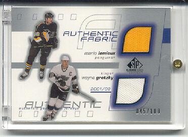 01-02 SP Game Used Dual Jersey Gretzky & Lemieux 45/100