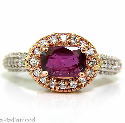 █$4500 2.78Ct Natural Fine Purple Red Ruby Diamond Ring 14Kt G/vs█
