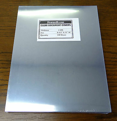 "100 pcs 5mil Clear Document Covers 8 1/2"" x 11"" Letter"