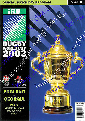 ENGLAND v GEORGIA RUGBY WORLD CUP 2003 RUGBY PROGRAMME Match no 8