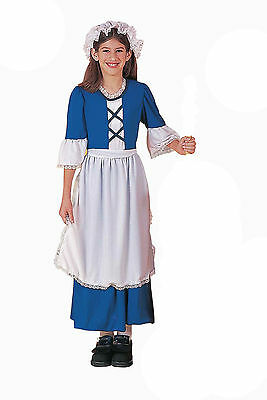 Colonial Girl Costume Blue Economy W Apron & Hat Girls Colonial Dress 54149