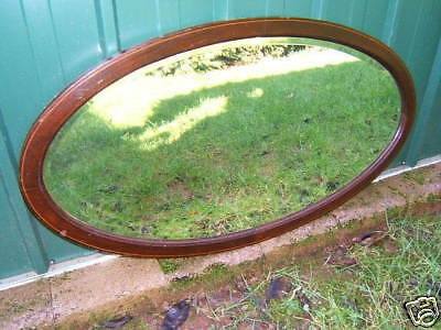 Mirror Oval vintage Mahogany bevelled glass inlaid  MO6