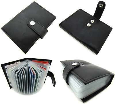 Mens RFID Protected Blocking Real Black Leather Credit Card Holder Pouch Wallet