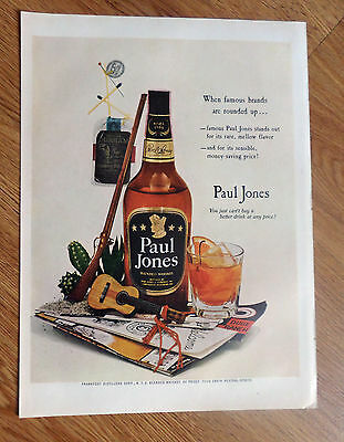 1953 Paul Jones Whiskey Ad Guitar Durham Tobacco