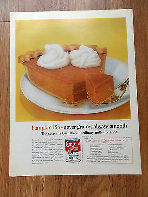 1962 Carnation Evaporated Milk Ad Pumpkin Pie