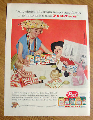 1958 Post Cereal Ad Sargent Art Children Play Dress-up