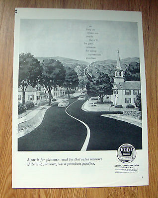 1957 Ethyl Gasoline Ad Chevy Buick Ford Plymouth Olds?