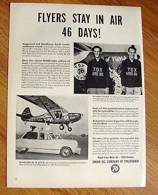 1949 Union Oil 76 Ad Navy Pilots Woodhouse Jongeward