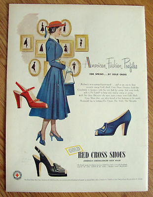 1948 Ad Red Cross Shoes American Fashion