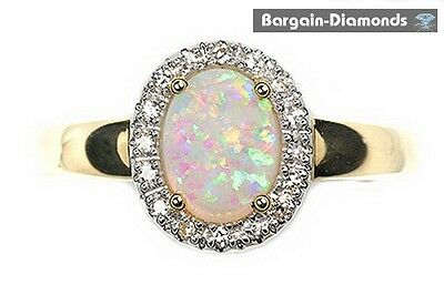 harlequin solid opal diamonds .67 carats engagement 14K gold ring Australian