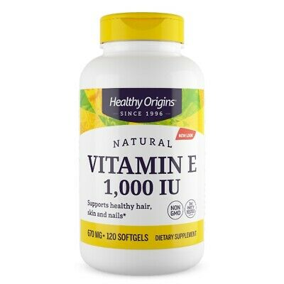 Vitamin E-1000 as D-Alpha Tocopherol 1000IU 120 Capsules | Cardiovascular Health