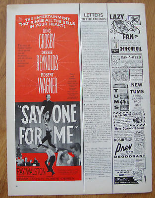 1959 Movie Ad Say One For Me Bing Crossby & R Wagner