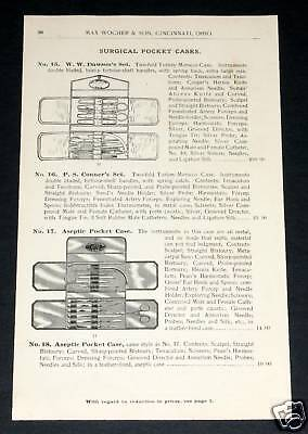 1891 Wocher Surgical Catalog Page 57, Surgical Pocket Cases, Aj Howe's Set, Etc!