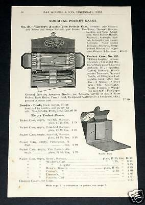 1891 Wocher Surgical Catalog Page 59, Surgical & Aseptic Vest Pocket Cases, Etc!