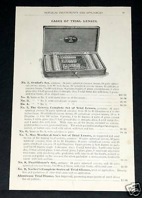 1891 Wocher Surgical Catalog Page 87, Trial Eyeglass Lenses, Ear Instruments!
