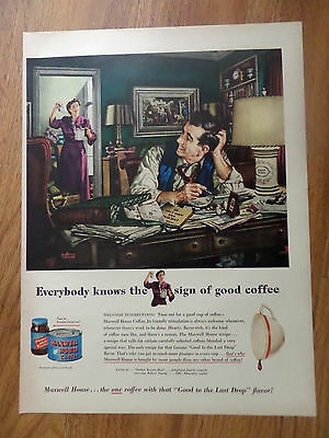 1950 Maxwell House Coffee Ad  Working on Income Taxes