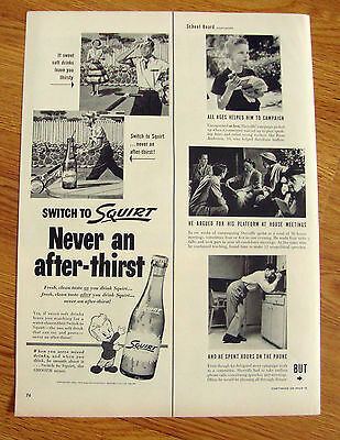 1953 Squirt Soda Ad  Cutting the Grass Lawnmowing