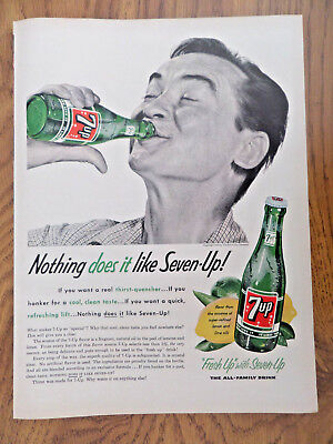 1955 Vintage 7up Bottle Ad Nothing does it!