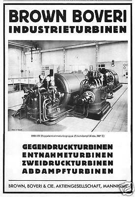 Brown Boverie & Cie.AG Mannheim Industrieturbinen 1934