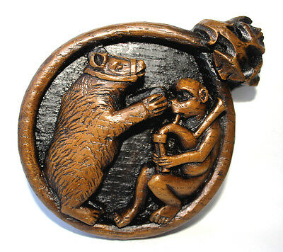 Musical Medieval Plaque Dancing Bear Monkey Bagpipes UK