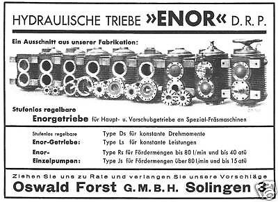 Enor Hydr. Triebe Oswald Forst Gmbh Solingen Rekl. 1934