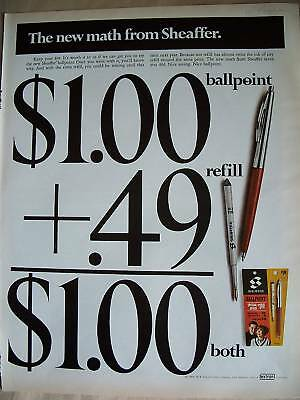 1966 Sheaffer's New Math Ballpoint Pen Refill Ad
