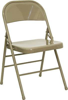 Lot of 20 Heavy Duty Beige Metal Folding Chairs