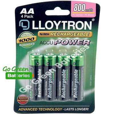 4 x Lloytron AA Rechargeable Batteries 800 mAh NiMH