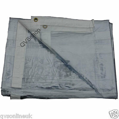 GLASS CLEAR PVC 2M x 4.6M TARPAULIN Market Stock Transparent Cover Sheet Tarp