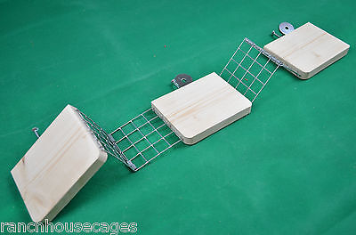 3 Pine Platform Shelves + Mesh Ladders -Rat Chipmunk Degu Chinchilla Gerbil cage