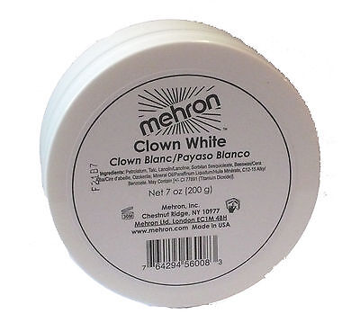 Mehron Clown White 7 oz Costume Make Up Professional Clown Makeup Whiteface 130