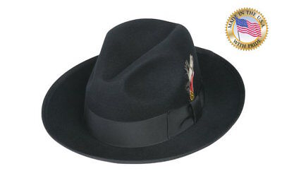 971815212 SHANNON PHILLIPS CLASSIC BLACK GANGSTER Fedora Hat Snap Brim NEW