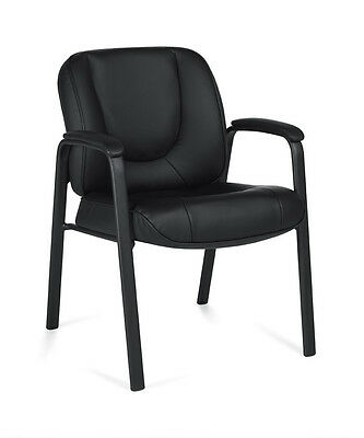 Lot Of 10 Black Leather Guest Chairs With Thickly Padded Seat And Back