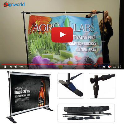 "Step and Repeat Telescopic Banner Stand 95"" X 96"" Black Frame With Free Bag"